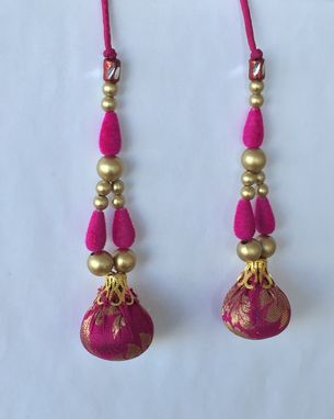 Custom Made Hot Pink Brocade Silk Fabric Balls,Gold Beads, Hanging In Silk Dori .L- 4' W- 1'