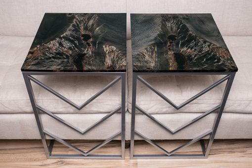 Custom Made Custom Rustic Modern C-Tables, Cantilever Couch Tables Tv Laptop Stands