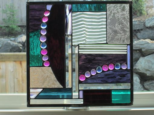 Custom Made Glass Nugget Abstract Stained Glass Hanging Panel