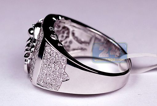 Custom Made Mens 1.04 Ct Diamond Scorpion Pink Or Signet Ring In 14k White Gold