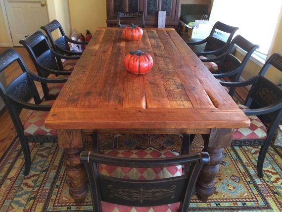 A Custom 8 Foot Antique Heart Pine Farmhouse Table Made To Order From Wellsworks Furniture Custommade