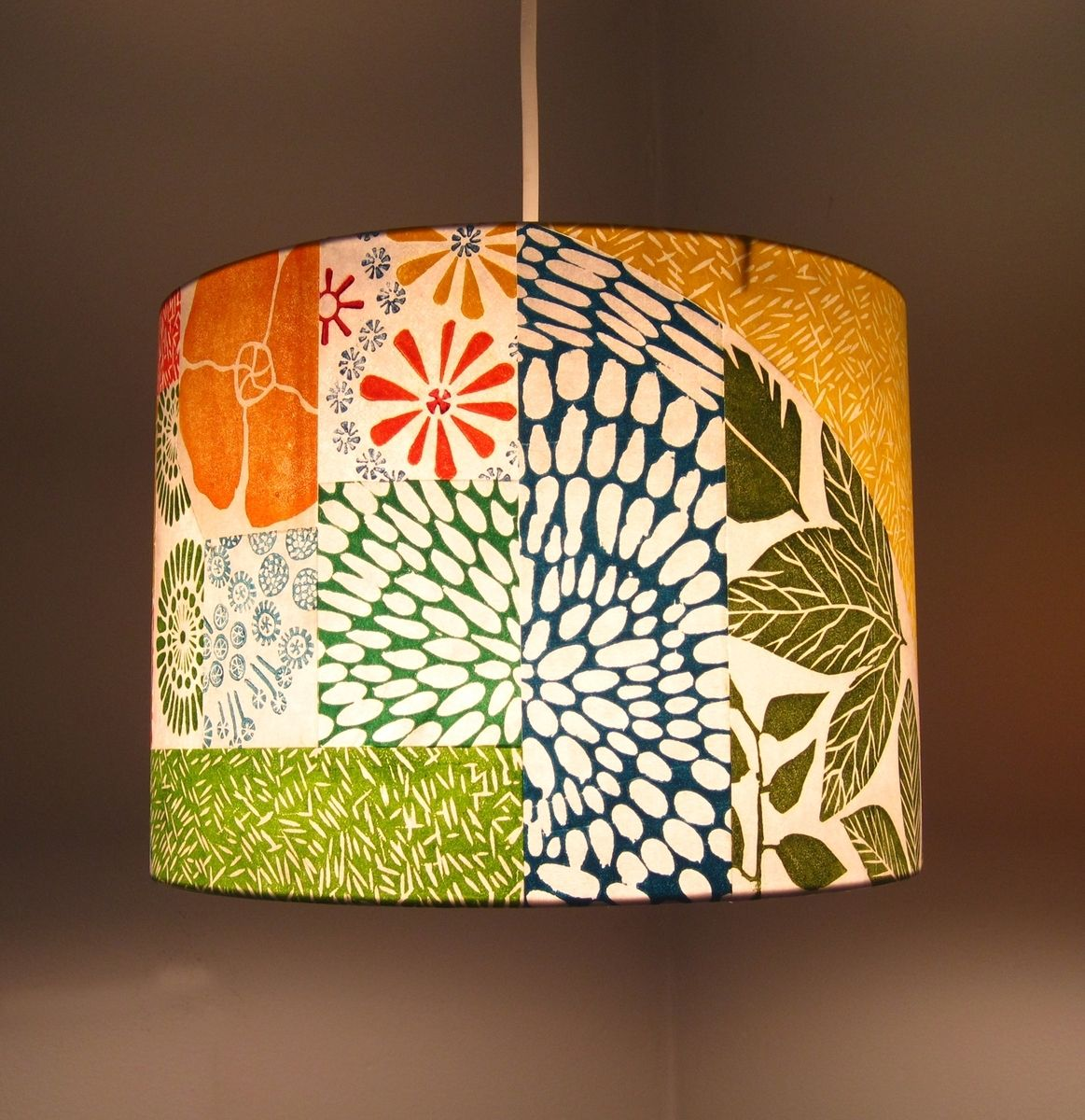 Hand Crafted Hand Printed Collage Lamp Shade By Jeanne