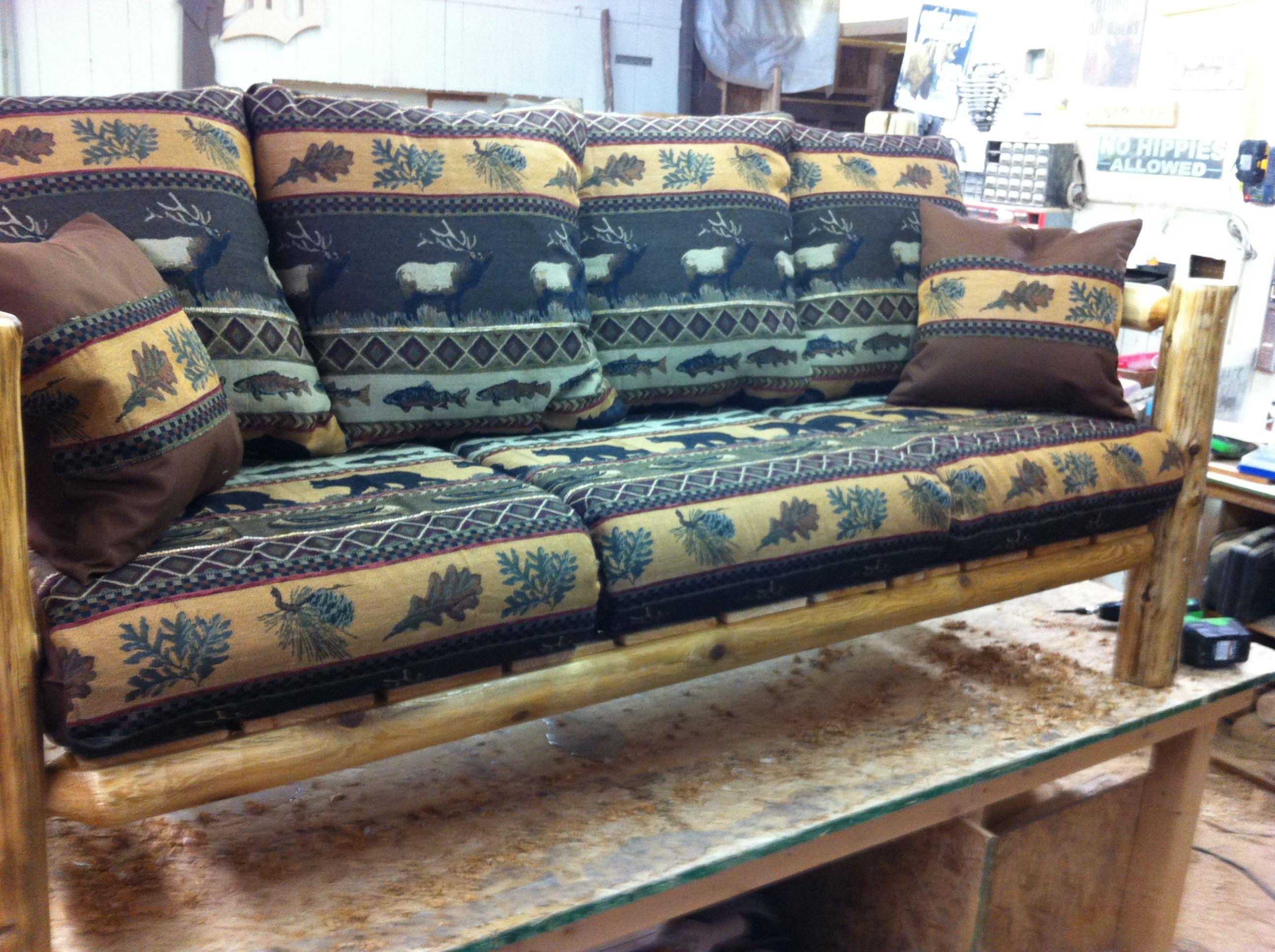 buy a custom made rustic caribou fish and bear log sofa. Black Bedroom Furniture Sets. Home Design Ideas