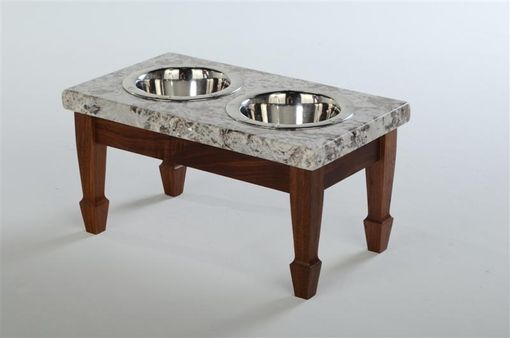 Custom Made Medium Walnut And Biana Antiquo Elevated Pet Feeder (Now On Closeout)