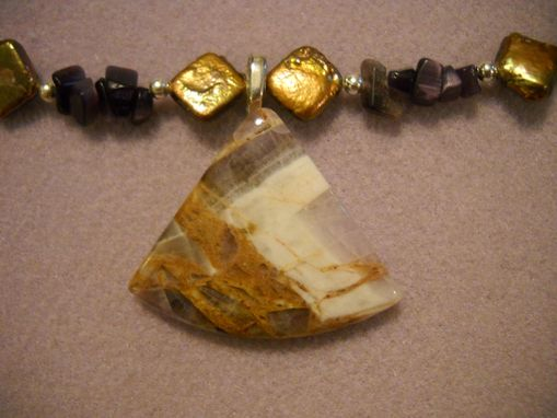 Custom Made Agate And Square Pearl Necklace