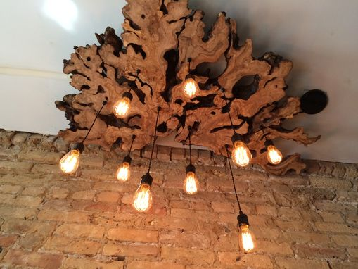 Custom Made Large Live-Edge Olive Wood Chandelier With Edison Bulbs//Rustic//Contemporary//Industrial