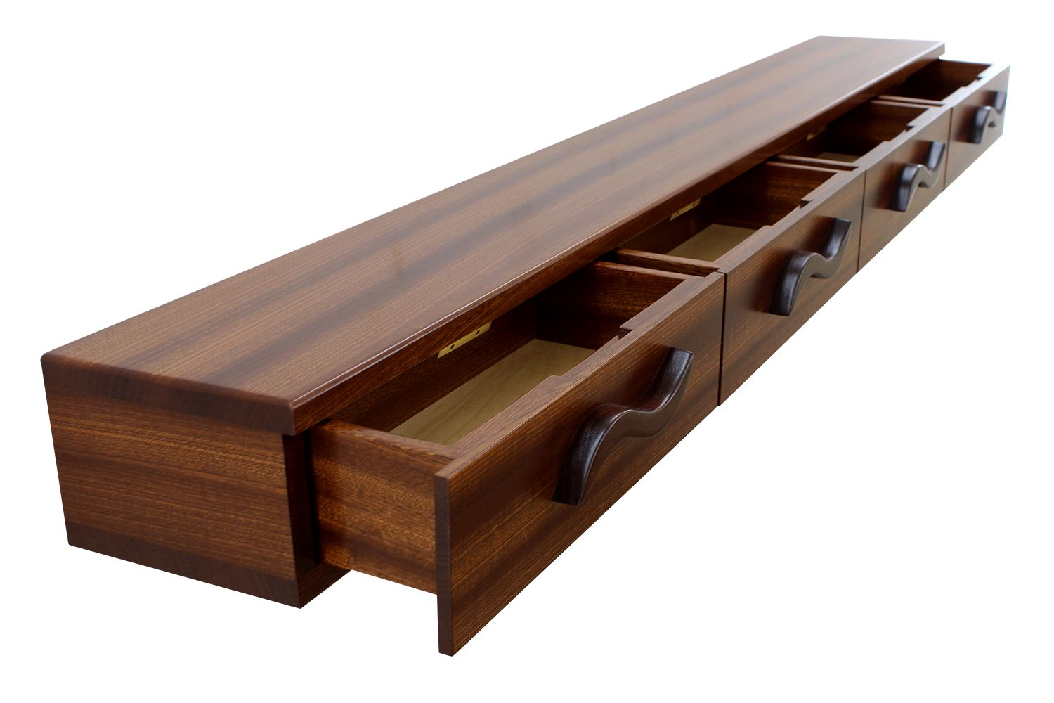 Buy Hand Crafted 4 Drawer Floating Shelf Solid Wood