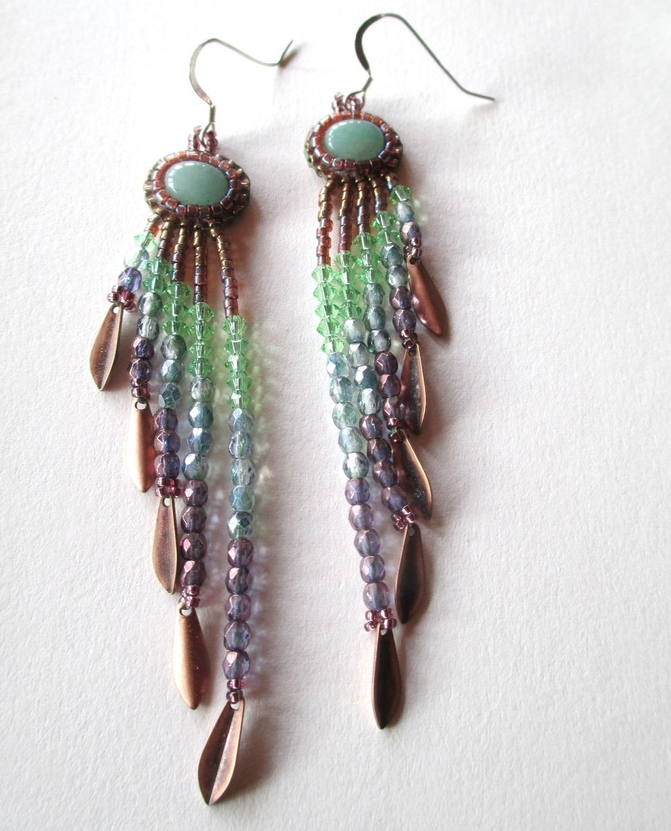 jewellery tribal glass czech kpe bohemian handmade boho southwest bead earrings beaded festival