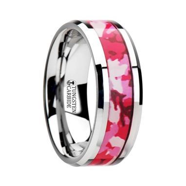 Custom Made Tango Tungsten Wedding Ring With Pink And White Camouflage Inlay - 6mm & 8mm