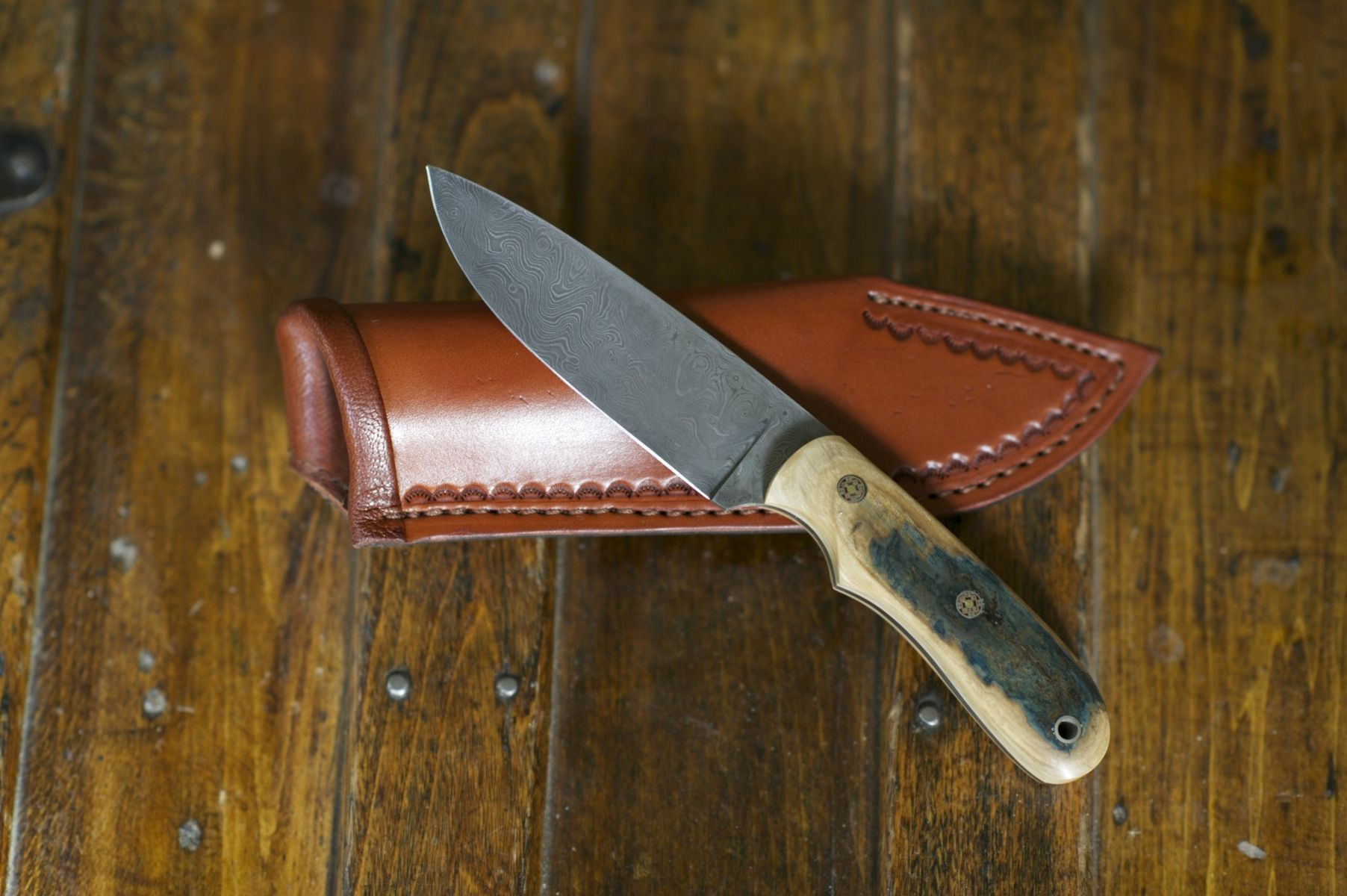 Hand Made Damascus And Blue Mammoth Ivory Forged Knife by