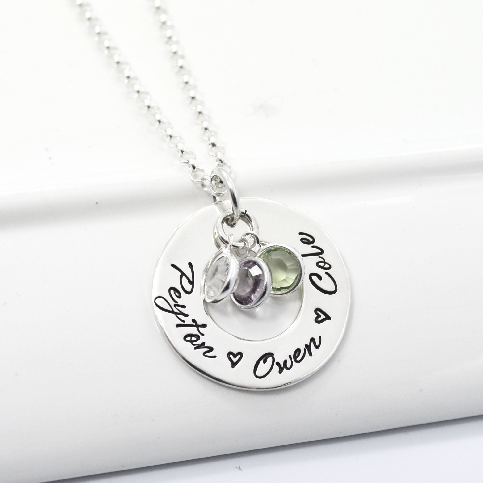 hammered bloomboutique and charm product hand by pendant stamped personalised bloom birthstone original necklace