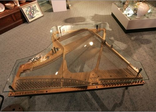 Custom Made Repurposed Piano Harp Table With Custom Glass