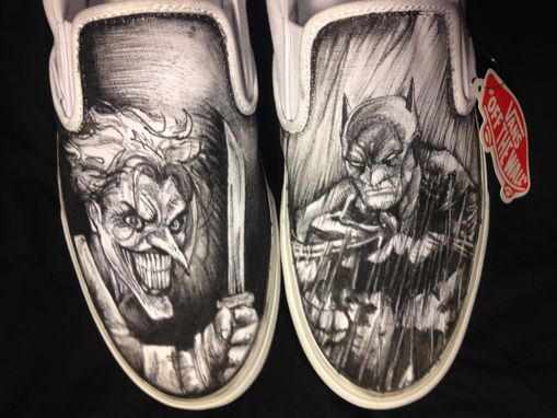 Custom Made Hand Drawn Batman And Joker Custom Shoes