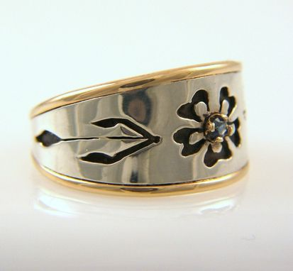 Custom Made Hand Pierced Sapphire Flower Ring With Sterling Silver And 14k Gold