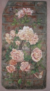 Custom Made Hand Painted Roses On Slate