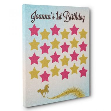 Custom Made Gold Unicorn Birthday Guestbook Canvas Wall Art