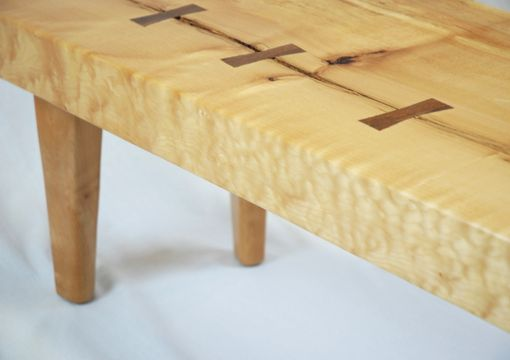 Custom Made Stitched Up Maple Slab Coffee Table With Black Walnut Butterflys