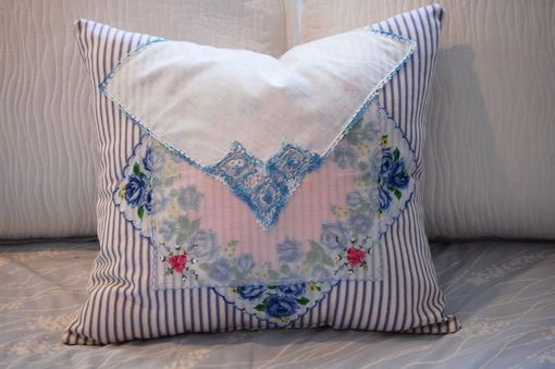 Custom Made Cottage Vintage Hankie Pillow