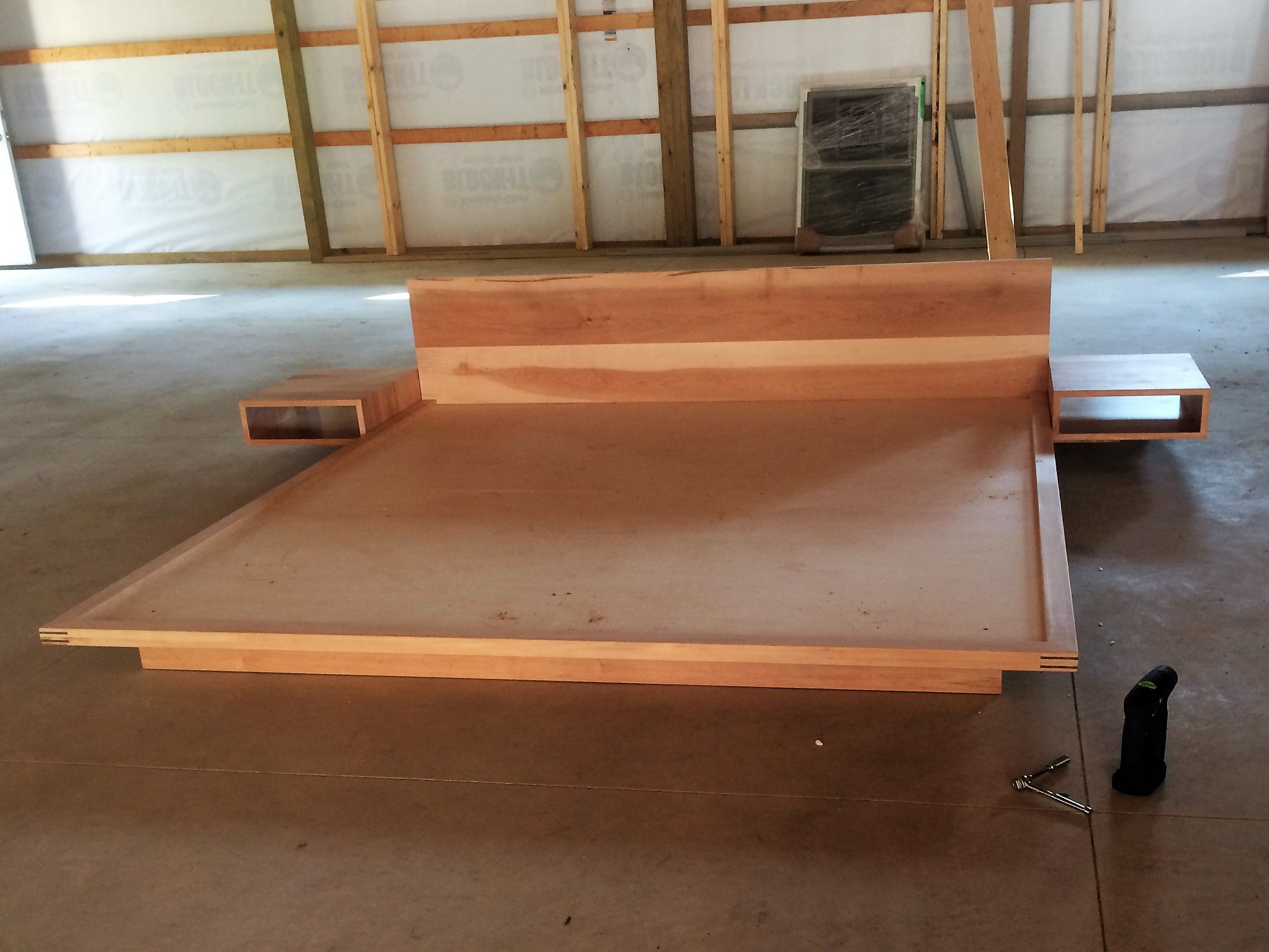 Picture of: Hand Made Maple Platform Bed With Floating Nightstands By Glessboards Custommade Com