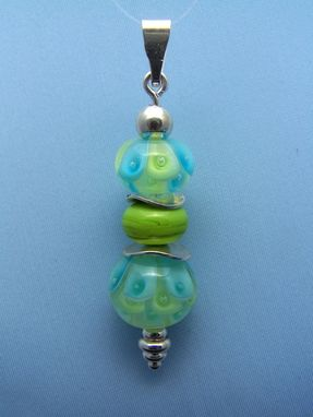 Custom Made Blue And Green Flower Layer Pendant With Beadhopper