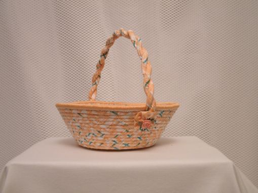 Custom Made Cloth Basket W/Handle - Coiled - Clothesline Handwrapped In Fabric. Small Round - Peach.