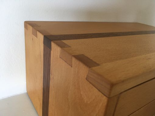 Custom Made Beech Wood Box With Walnut Stripe