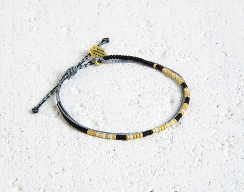 Custom Made Custom Morse Code Bracelet - Black, White & Gold