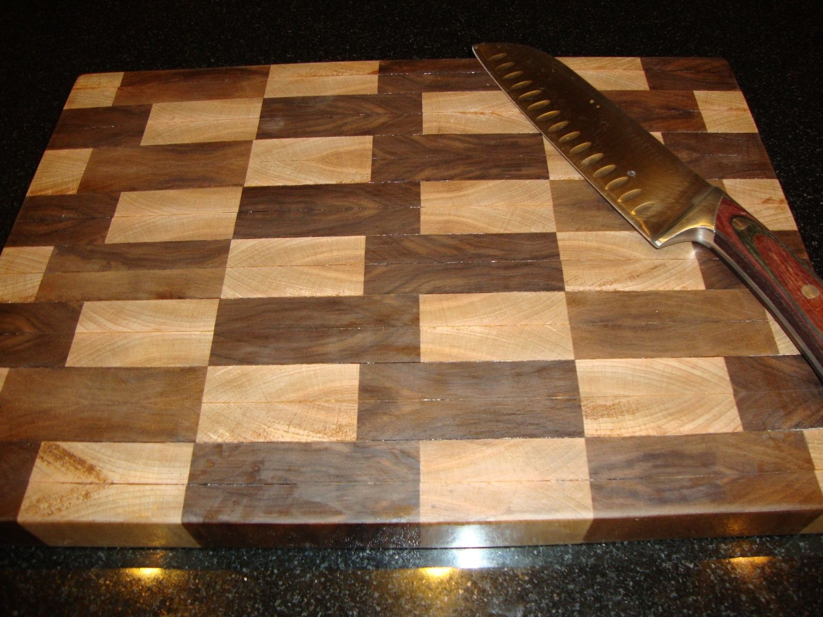 hand made maple and walnut end grain cutting board by, Kitchen design