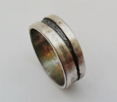 Custom Made Sterling Silver Textured River Runs Through It Design Band Ring