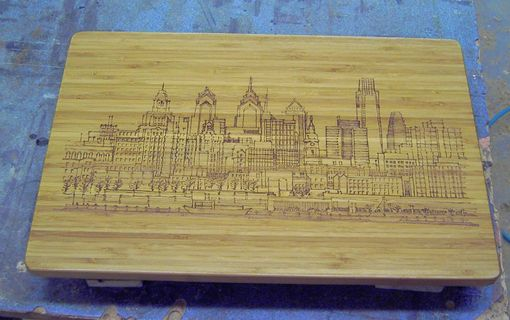 Custom Made Engraved Bamboo Cutting Board - Philadelphia Skyline