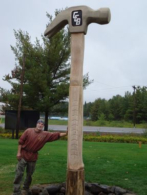 Custom Made Giant Chainsaw Carved Hammer