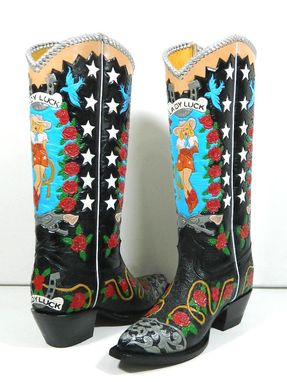 Custom Made Hand Tooled Lady Luck Style Cowboy Boot Made To Order To Your Size