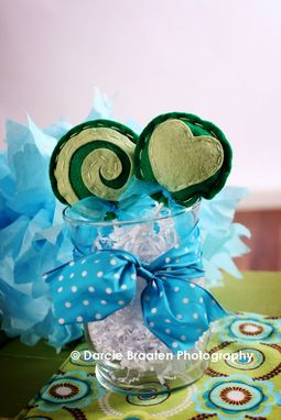 "Custom Made Two Celery Green And Green Felt Lollipops ""Creme De' Mint''"