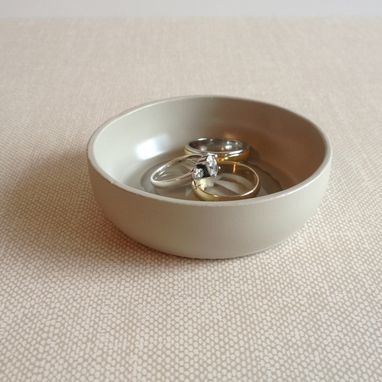 Custom Made Jewelry Dish, Ring Holder, Sand Dollar, Pebble Taupe