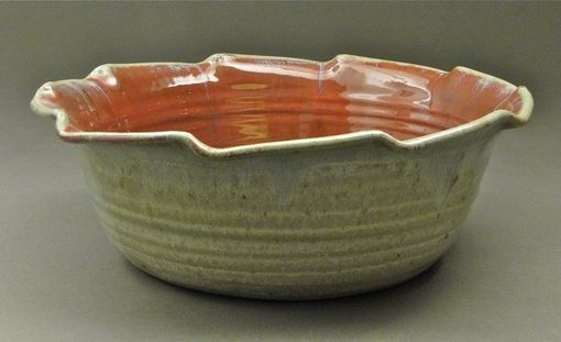 Custom Made Large Nuka And Copper Red Glazed Serving Bowl, (Sku 113)