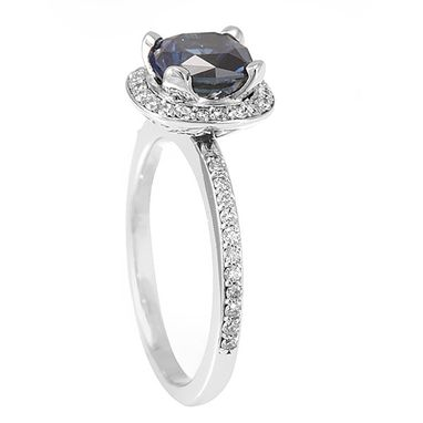 Custom Made Blue Sapphire Diamond Halo Engagement Ring In 14k White Gold, September Birthstone Ring