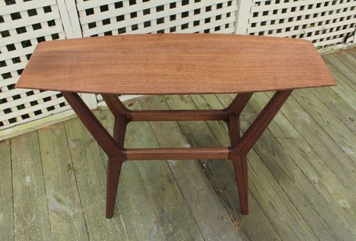 Custom Made Mid Century Surboard Console Table In Quarter-Sawn Walnut