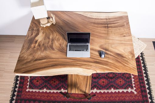 Custom Made Live Edge Thick Cut Wood Slab Table - Ideal For Office Desk