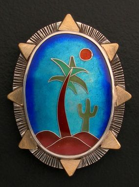 Custom Made Palm Tree And Cactus Brooch And Pendant