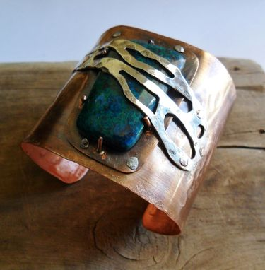 Custom Made Sterling Silver And Copper Cuff With Chrysocolla Stone Series 11