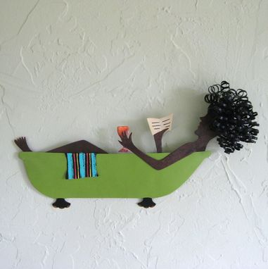 Custom Made Bathtub Art Sculpture Metal Wall Home Decor Bathtub Lady Recycled Metal Bathroom Wall Decor