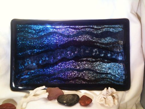 Custom Made Custom Lettered Iridescent Fused Glass Plates