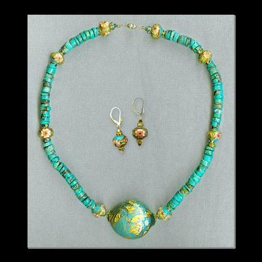Custom Made Dezir Turquoise Necklace & Earrings Set