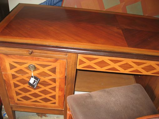 Custom Made Classic Computer Desk With Modern Functionalities In Faux Inlay Wood