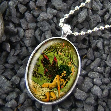 Custom Made Absinthe Fairy Vintage Sterling Silver Necklace 273-Son
