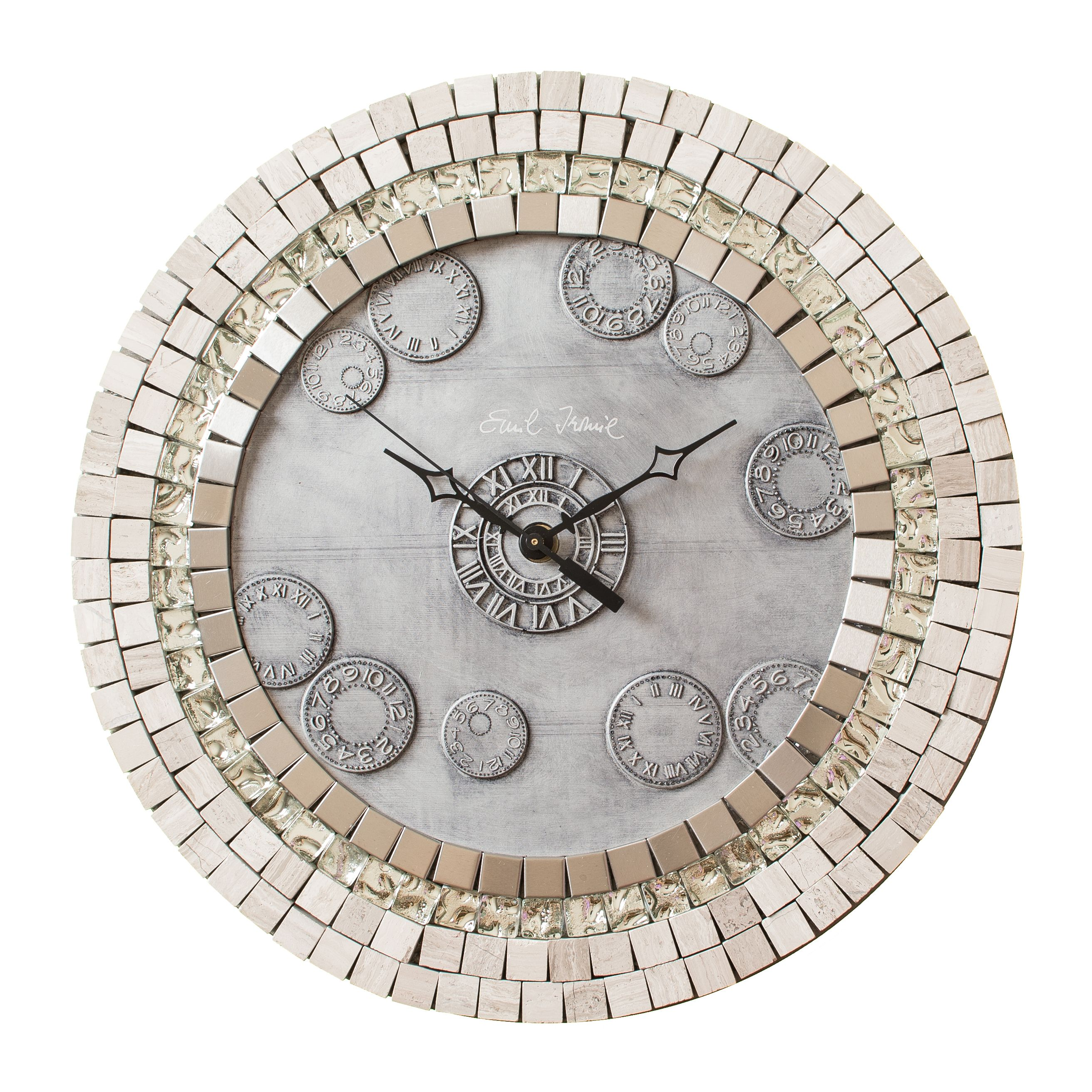 Buy a hand crafted tessera mercury glass stone and metal mosaic custom made tessera mercury glass stone and metal mosaic wall clock metal large amipublicfo Gallery