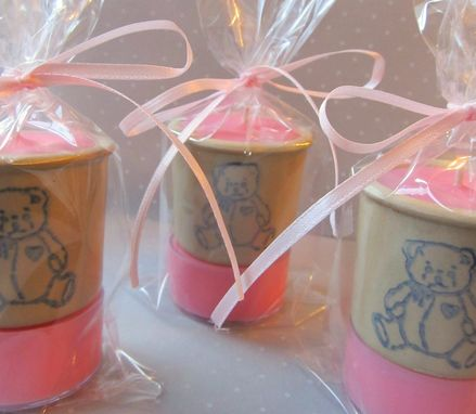 Custom Made 20 Baby Shower Favors,Soy Tealight Candles,Teddy Bear Pottery,Baby Powder Candle,Quantity Discounts