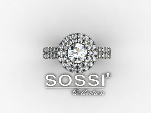 Custom Made Round Halo 14k White Gold Diamond Engagement Ring 2.25 Ct