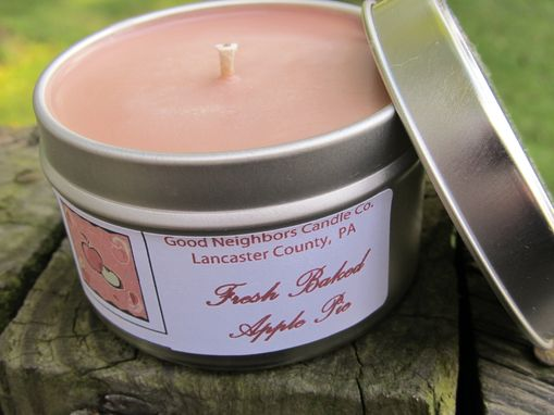 Custom Made Soy Candle Tin, Fresh Baked Apple Pie, 6 Ounce Tin, Tan, Hemp Wick, Baked Good Candle