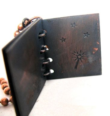 Custom Made Copper And Brass Book Pendant Necklace